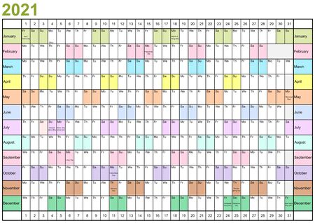 Year Planner 2021 linearly with public holidays for the USA, each month in different bright colors Ilustracja