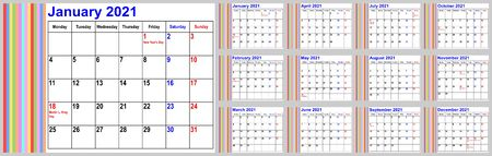 Calendar 2021 for the USA incl. national holidays, with colorful stripes in the left area. Set of all 12 months. Week starts Monday.