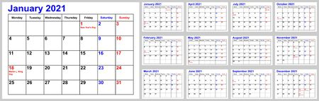 Calendar 2021 for the USA incl. national holidays, simple monthly overview. Set of all 12 months. Week starts Monday. Ilustracja
