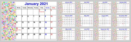 Calendar 2021 for the USA incl. national holidays, with colorful different letters in the left area. Set of all 12 single months. Week starts Monday. Vectores