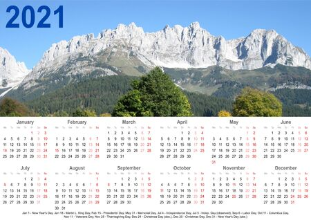 Annual calendar 2021 with mountain landscape above and public holiday markings and listing below for USA