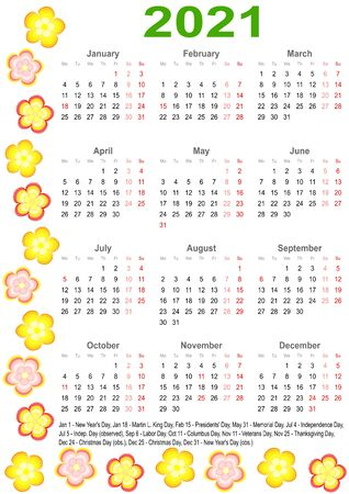 Calendar 2021 with markings and a list of public holidays for the USA edged with colorful flowers 向量圖像