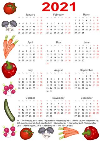 Calendar 2021 with markings and below a list of public holidays for the USA and edged with various vegetables