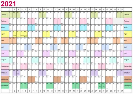 Year Planner 2021 linearly with public holidays for Germany, with CW and each month in different bright colors