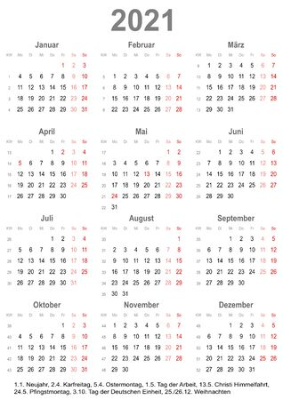 Simple calendar 2021 - one year at a glance - starts Monday with public holidays for Germany in a portrait format