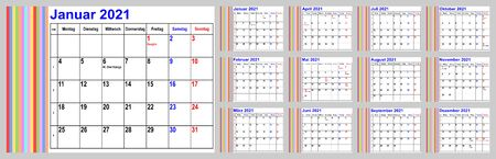 Calendar 2021 for Germany incl. national holidays and cw, with colorful stripes in the left area. Set of all 12 months. Week starts Monday. Vectores