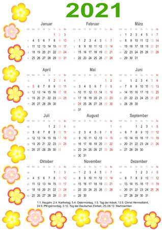 Calendar 2021 with markings and a list of public holidays for Germany edged with colorful flowers Vectores
