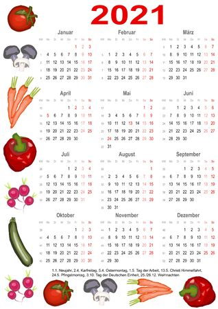 Calendar 2021 with markings and below a list of public holidays for Germany and edged with various vegetables Vectores