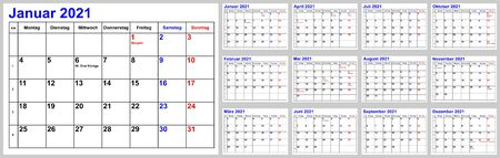 Calendar 2021 for Germany incl. national holidays and cw, simple monthly overview. Set of all 12 months. Week starts Monday.