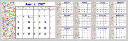 Calendar 2021 for Germany with holidays and cw, with colorful different letters in the left area. Set of all 12 single months. Week starts Monday. Vectores