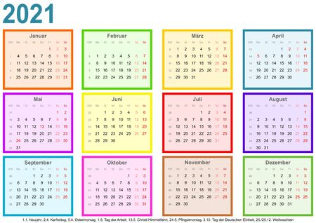 Calendar 2021, each month in a differently colored square and markings of public holidays for Germany in a landscape format