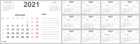 Calendar 2021 for Germany with holidays, room for notes and above with previous and following month. Set of all 12 single months. Week starts Monday.