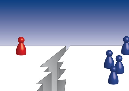 commit: A red pawn on the left and blue pawns on the right Stock Photo