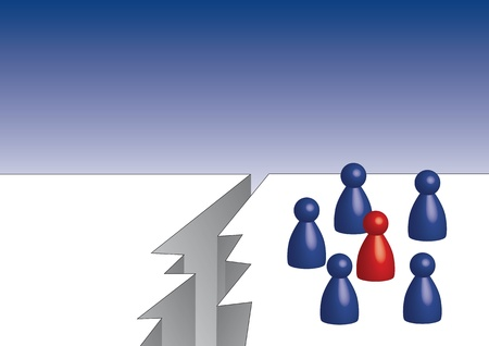 whitw: The red pawn in the middle of the blue pawns Stock Photo