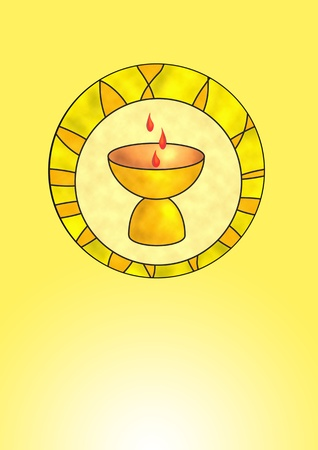 sacrificed: Sacrifice chalice in front of a yellow background Stock Photo