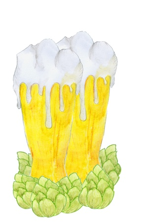 beer stein: Two glasses with beer and hop