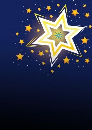 jesus birthday: Stars on a blue background with golden lines