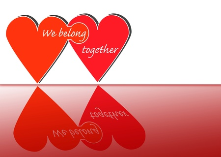 belong: Two hearts connected with the words  We belong together  Stock Photo