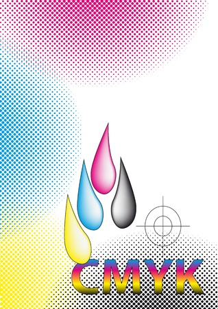 CMYK ink drops with halftone photo