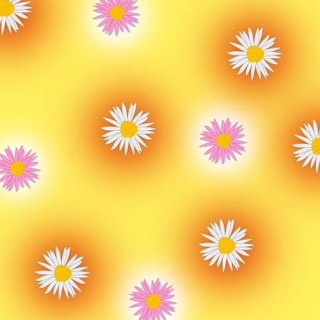 marguerite: Marguerites with a yellow, orange and white abstract background