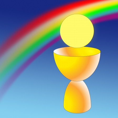 Holy chalice with a rainbow and a host