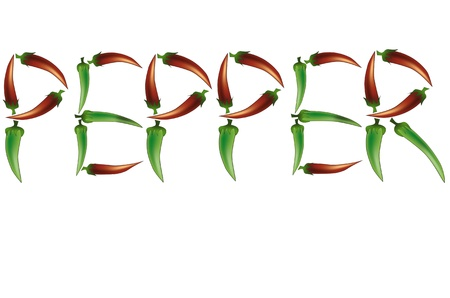 peper: Isolated hot chili peppers building the word peper