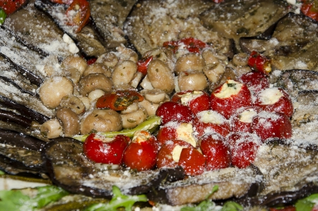 Italian antipasti with mushrooms, pepper and eggplant photo