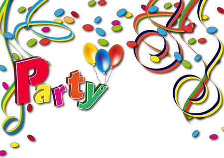party streamers: Streamers with confetti, balloons and the word party Stock Photo