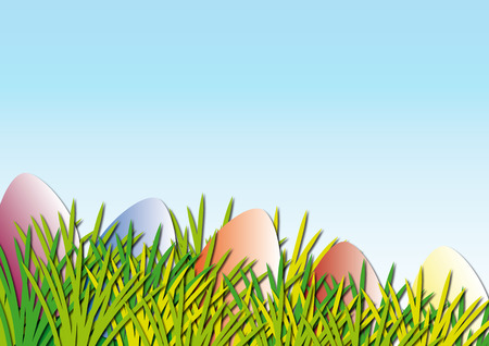 grass blades: Colorful easter eggs and blades of grass