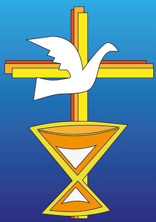 birds eye view: Cross with dove and chalice in front of a blue background