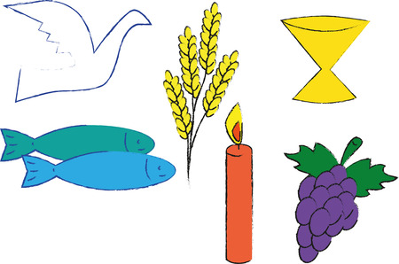 Christian symbol with grapes, candle, fishes, dove and chalice
