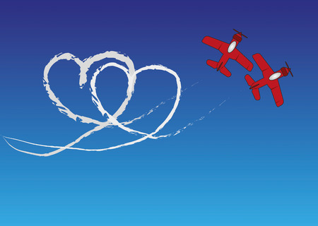 Two red planes are drawing a heartshape with contrails in the blue sky. Vector