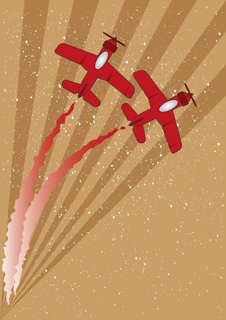 Two red planes with contrails flying over an abstract background Vector