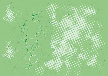 Soccerplayer with ball in front of a green background with halftone dots Vector