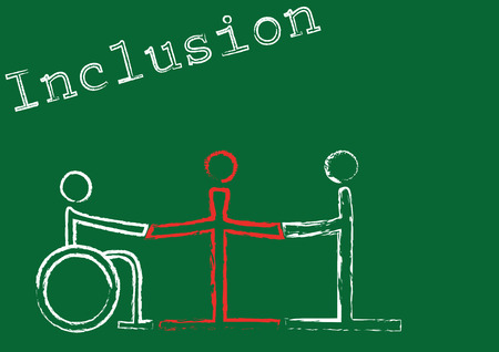 The word inclusion with the symbols for three people in different situations Vector