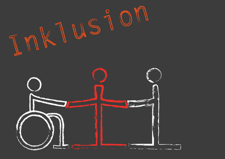 situations: The word Inklusion with the symbols for three people in different situations Illustration