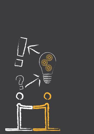 question mark: Symbole f�r den Prozess, um eine L�sung zu finden. Die Zeichnung enth�lt Zahlen, Fragezeichen, exclamationmark und eine Gl�hbirne mit Zahnr�dern. Illustration