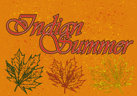 indian summer: Maple leaves in different colors and the word Indian Summer