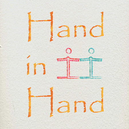 underprivileged: The words hand in hand and some figures holding hands