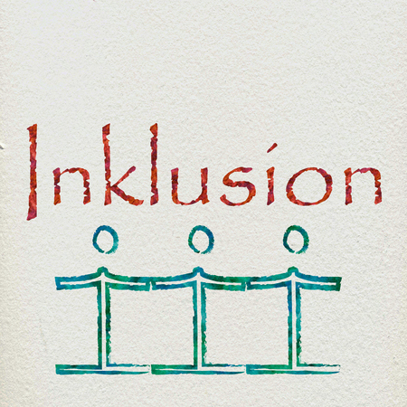 inclusion: The German word for inclusion with some figures holding hands