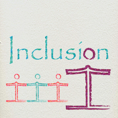 inclusion: The word inclusion with some figures Stock Photo