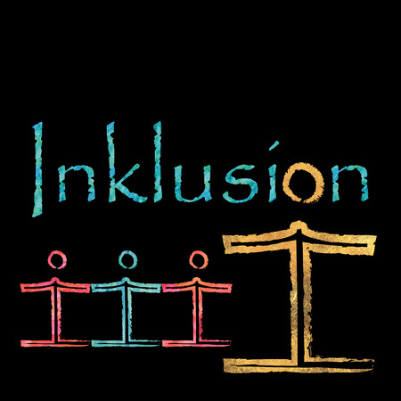 inclusion: The German word for inclusion with an included figure and some figures holding hands