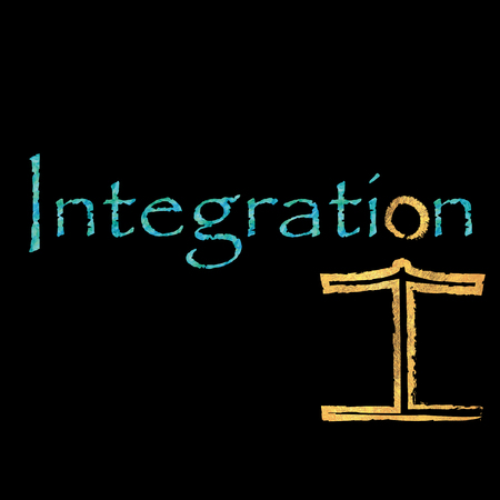 deprived: The word integration with the Integrated figure Stock Photo