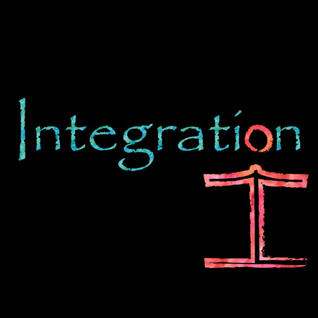 deprived: The word integration with an integrated figure Stock Photo