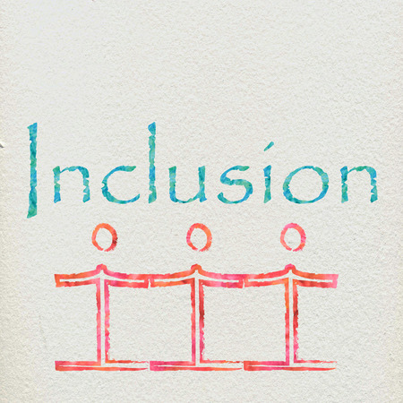 deprived: The word inclusion with some figures holding hands
