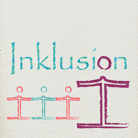 underprivileged: The German word for inclusion with an included figure and some figures holding hands