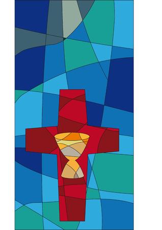eucharistie: Croix et Chalise dans un style mosaïque comme une fenêtre de l'église Illustration