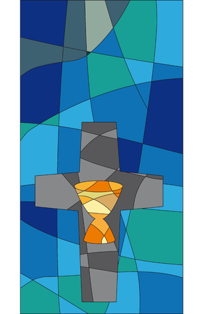 pentecost: Cross and chalice in a mosaic style