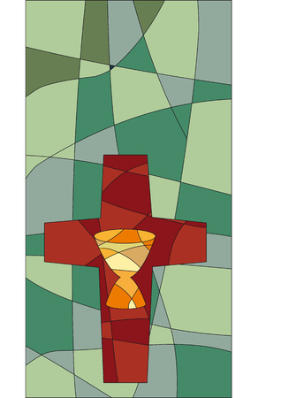 Cross and chalice in a mosaic style