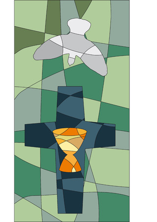 whitsun: Cross, dove and chalice in a mosaic style like a church window Illustration